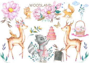 Cute baby deer and roccoon with tasty cake animal isolated illustration for children. Bohemian watercolor boho forest deer family watercolor drawing Perfect for nursery posters. Birthday invite.