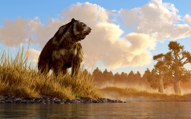 An unusual looking bear, the now extinct short faced bear, an animal of the last ice age, sits in the deep grass on the rocky shore of a prehistoric North American wetland. 3D Rendering. Wall mural