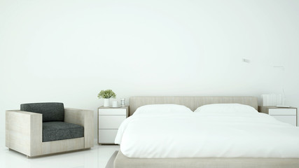 Bedroom and living area in hotel or home on minimal style - Interior simple design on white tone - 3D Rendering