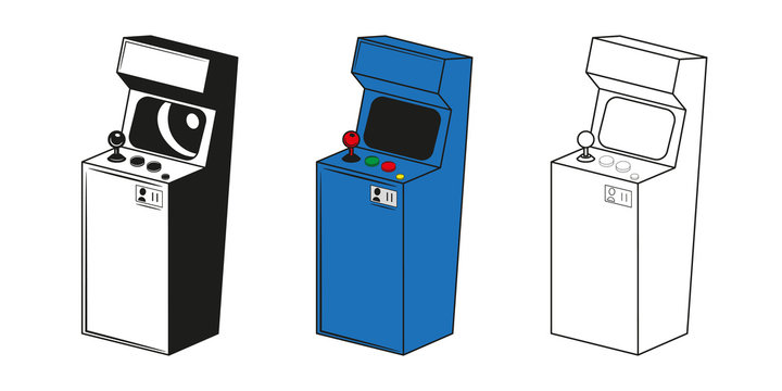 Set of arcade game machine in different styles. Vector illustrations.