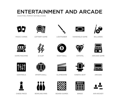 set of 20 black filled vector icons such as air hockey, arcade, arcade game, billiards, bingo, board games, game machine, handheld game, lightsaber, lottery entertainment and arcade black icons
