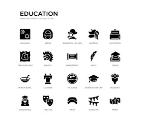 set of 20 black filled vector icons such as merit, bouquet, thesis, invitation, garland, sash, treasure map, unicorn, sherlock holmes, jesus. education black icons collection. editable pixel perfect