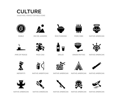 set of 20 black filled vector icons such as native american canoe, native american flute, native american mask, pot, skull, spear, pipe of peace, pork ribs, rice pudding, rio de janeiro. culture
