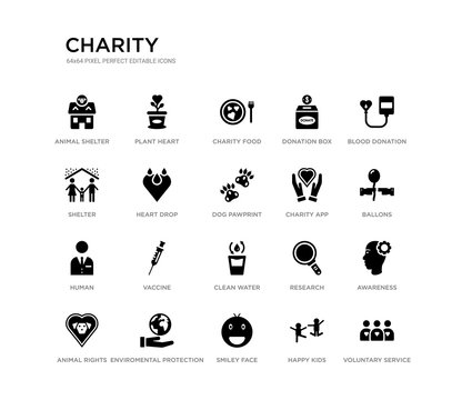 set of 20 black filled vector icons such as voluntary service, awareness, ballons, blood donation, happy kids, smiley face, shelter, donation box, charity food, plant heart. charity black icons