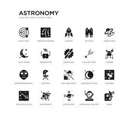 set of 20 black filled vector icons such as nasa, voyager, lander, abduction, astranaut helmet, astrology, half moon, jet pack, liftoff, meteor shower. astronomy black icons collection. editable
