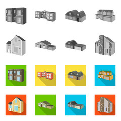 Vector design of facade and housing sign. Collection of facade and infrastructure stock symbol for web.