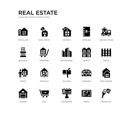 set of 20 black filled vector icons such as house key, real estate, fence, moving truck, print, billboard, balcony, catalog, deposit, real state. real estate black icons collection. editable pixel