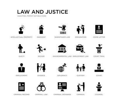 set of 20 black filled vector icons such as counsel, court, court trial, crime letter, criminal, criminal database, guilty, immigration, inheritance law, innocent. law and justice black icons