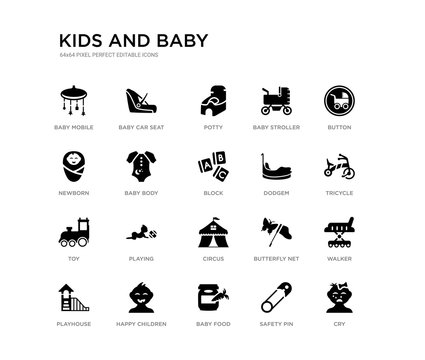 set of 20 black filled vector icons such as cry, walker, tricycle, button, safety pin, baby food, newborn, baby stroller, potty, baby car seat. kids and black icons collection. editable pixel