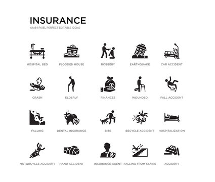 set of 20 black filled vector icons such as accident, hospitalization, fall accident, car accident, falling from stairs, insurance agent, crash, earthquake, robbery, flooded house. insurance black