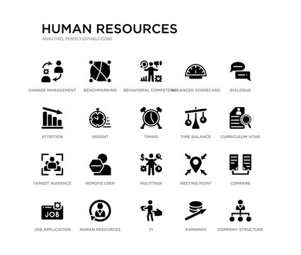 set of 20 black filled vector icons such as company structure, compare, curriculum vitae, dialogue, earnings, fi, attrition, balanced scorecard, behavioral competency, benchmarking. human resources