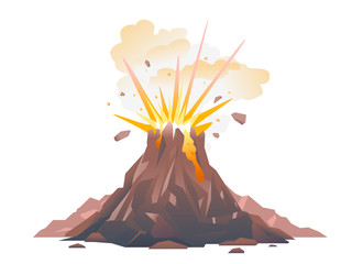 One big brown volcano with explosion and smoke, volcano eruption of orange lava flows down the hill and stones flying in the air, isolated Fototapete