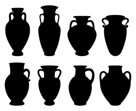 Vector illustrations with Silhouettes of Greek Amphoras