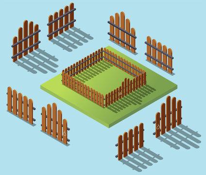 Wooden fence in isometric. Garden exterior flat 3d isometric illustartion. Architecture
