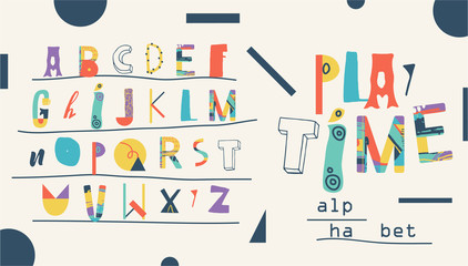 Vector Hand Drawn Funny Artistic and Creative Alphabet. Typeface for kids. Font for Children
