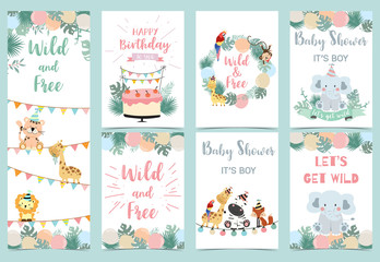 pastel birthday card with tiger,elephant, giraffe, zebra,cake,leaf and balloon