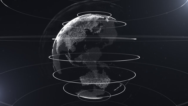 Futuristic sphere of dots. Globalization interface. Sense of science and technology abstract graphics. 3D rendering. White loops around sphere. Sidepieces of the planet are glowing and sparking.