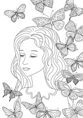 Fototapete - happy girl and flying butterflies for your coloring page