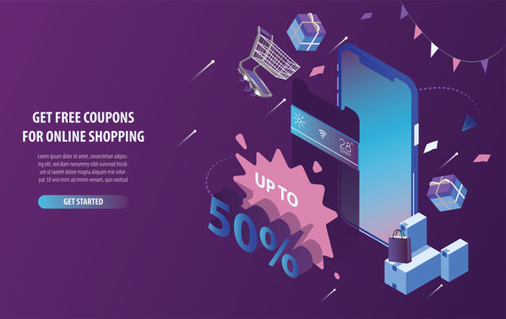 Isometric free discount coupons online shopping, mobile store, and e-commerce in smart phone with purple and blue background. Modern web design