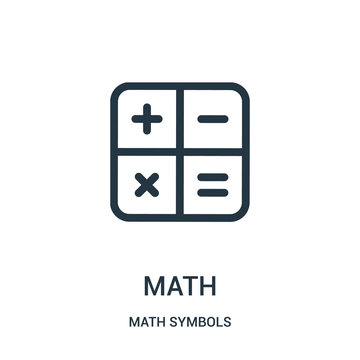 math icon vector from math symbols collection. Thin line math outline icon vector illustration.