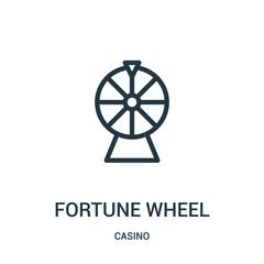 fortune wheel icon vector from casino collection. Thin line fortune wheel outline icon vector illustration.