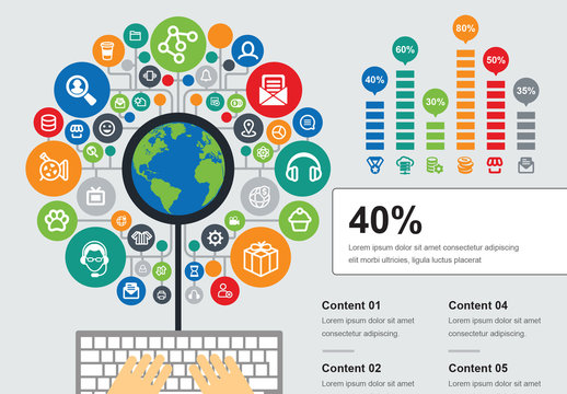 Web Browsing Infographic with Icons
