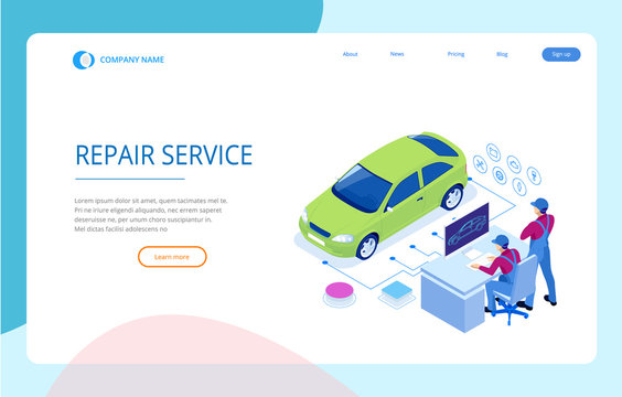 Isometric auto repair service station. Workers in car service tire service and car repair vector illustration