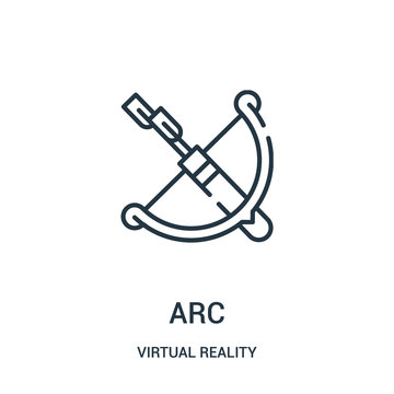 arc icon vector from virtual reality collection. Thin line arc outline icon vector illustration.