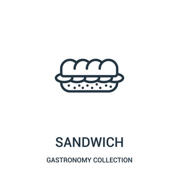 sandwich icon vector from gastronomy collection collection. Thin line sandwich outline icon vector illustration.