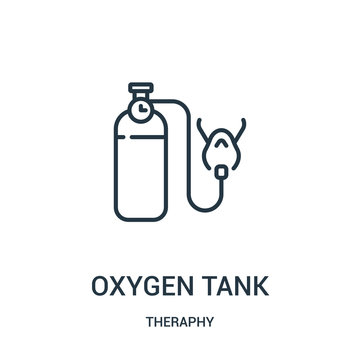 oxygen tank icon vector from theraphy collection. Thin line oxygen tank outline icon vector illustration.