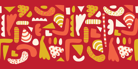 Doodle shapes Seamless horizontal border vector. Modern abstract pattern with simple elements red, white, yellow, pink background. Scandinavian style. Modern happy kids print for girls, decor, fabric