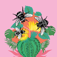 Bees sitting on cactus palnt with flowers and leaves on pink background