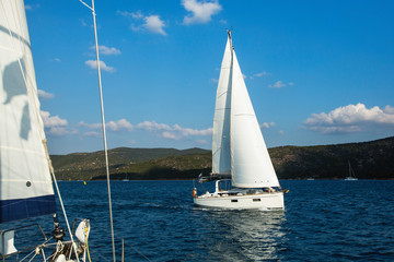 Fototapete - Sailing yacht boat at the Aegean Sea - Greece.
