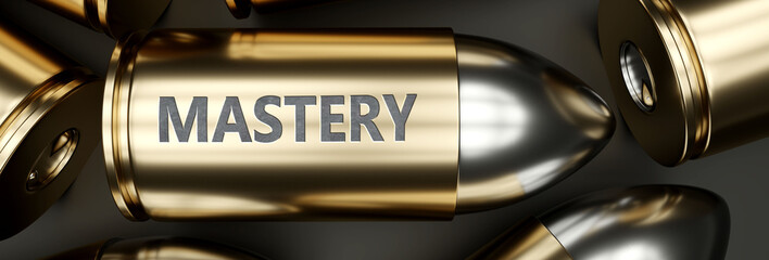 Mastery as a killer feature, main trait and most important attribute - power of mastery pictured as a 3d render of a metal bullet with engraved English word, 3d illustration