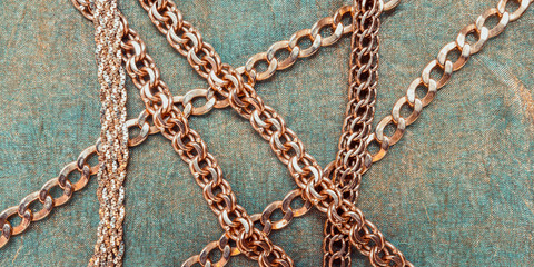 Gold chain for fashionable prints on a dark background, the trend of the 80s, 90s long banner