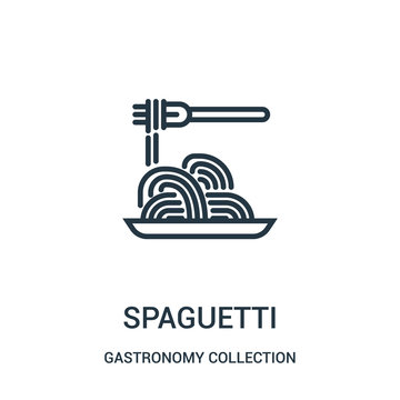spaguetti icon vector from gastronomy collection collection. Thin line spaguetti outline icon vector illustration.