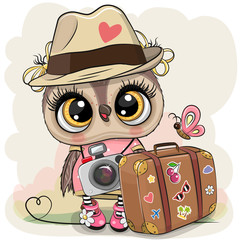 Canvas Prints Owls cartoon Cartoon Owl in a hat with luggage