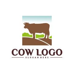Cow Logo Design Concepts. Cow Farm Logo Template Vector. Icon Symbol