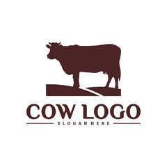 Cow Logo Design Concepts. Cow Farm Logo Template Vector. Icon Symbol