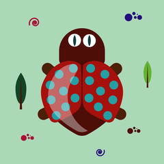 Wall Murals Birds, bees funny flat bug clipart on green background