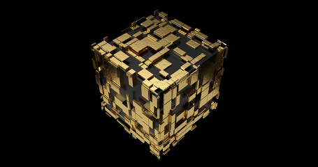 Cube Futuristic Scifi 3D design -Black and Gold- 8K