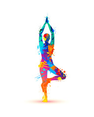 Yoga asana vrikshasana. Tree pose. Splash paint
