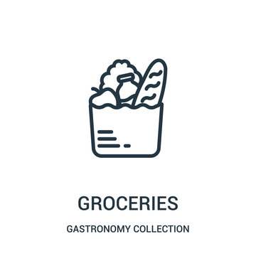 groceries icon vector from gastronomy collection collection. Thin line groceries outline icon vector illustration.