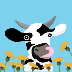 Poster Ranch sticker with cow vector