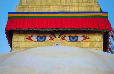Close up of eyes at Boudhanath stupa, Kathmandu, Nepal