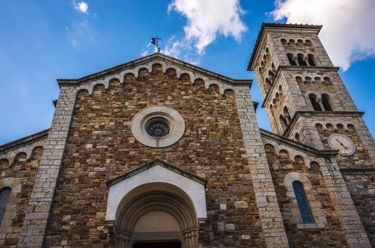 Front facade of the Church of San Salvatore located in the historic center of Castellina in Chianti in Tuscany, Italy