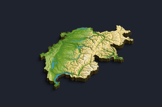 Isometric 3D map of Switzerland. Isolated country on background.
