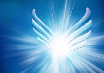 Modern abstract angel wings. Sky with bright light rays