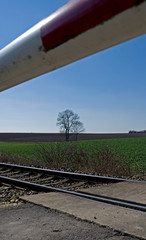 Reichstaedt / Germany: Closed barrier boom at a small railway crossing in the rural landscape on a sunny day in March
