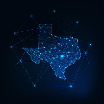 Texas state USA map glowing silhouette outline made of stars lines dots, low polygonal shapes.